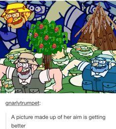 "art - Gravity Falls, Grunkle Stan, Legend of the Gobblewoker, "" Her aim is getting better"" Gravity Falls Funny, Gravity Falls Fan Art, Disney Channel, Grabity Falls, Fall Memes, Reverse Falls, Fandoms, Autumn Art, Force Of Evil"
