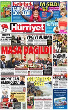 #20160217 #TürkiyeHABER 17 Şubat 2016 gazete manşetleri #HÜRRIYETgazetesi Wednesday FEB 17 2016 http://en.kiosko.net/tr/2016-02-17/np/hurriyet.html