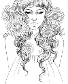 Prima Princesses Stamp - Grace by Prima Marketing for Scrapbooks, Cards, & Crafting Free Adult Coloring Pages, Cute Coloring Pages, Disney Coloring Pages, Coloring Books, Mindfulness Colouring, Eye Drawing Tutorials, Dragon Pictures, Hand Drawn Flowers, Cool Art Drawings