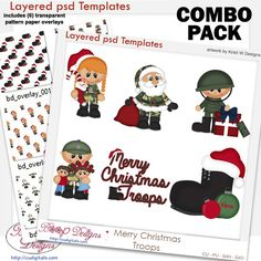 Merry Christmas Troops Layered Template COMBO Set,military, bundle, cu, commercial, scrap, scrapbooking, graphics