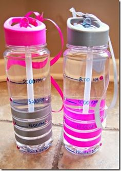 Water bottles with time deadlines! A great way to create water-drinking goals to keep you on track throughout the day.  Hello, hydration!