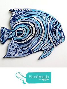 Blue Angelfish with Stripes Wall Sculpture from Cosmic Mermaid https://www.amazon.com/dp/B01LYF00JH/ref=hnd_sw_r_pi_dp_x1sGyb0BNKW49 #handmadeatamazon