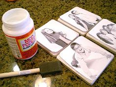 Great easy fun project to do with the kids! Ceramic Photo Tiles Supplies: Four tile around cents eachacid-free copy-weight paper, whitecomputer and photo printerMod Podge Decoupage Gluesponge … Christmas Paper Crafts, Christmas Crafts, Christmas Coasters, Christmas Wood, Christmas Signs, Christmas 2015, Christmas Goodies, Christmas Presents, Vintage Christmas