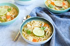 Add a different flavor to classic chicken noodle soup with this Thai-inspired comforting coconut curry chicken noodle soup.