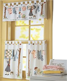 Nostalgic Laundry Curtains - Check out these nostalgic laundry room curtains that will add a bit of whimsey to your utility room.