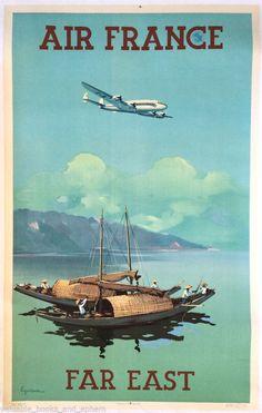 Original Travel Poster Air France FAR EAST Orient 39x25 Vintage Constellation #Vintage