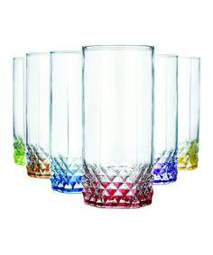 Color Bottom Diamond Glass Set
