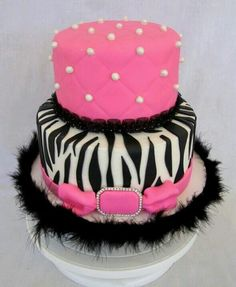 On this cake with zebra part purple and black and top green with purple 'pearls'