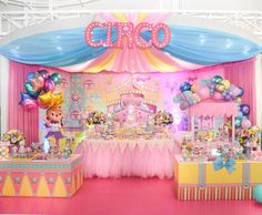 Image may contain: indoor Circus Carnival Party, Circus Theme Party, Carnival Birthday Parties, Birthday Decorations, Dumbo Birthday Party, 1st Birthday Party For Girls, Circus Birthday, First Birthdays, Aurora