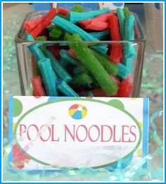 Pool noodles made of thick sour punch straws