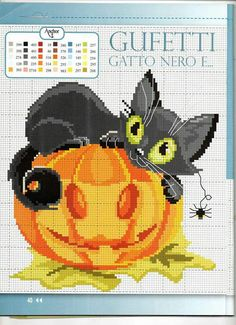 Cross Stitch black cat with carved pumpkin for Halloween