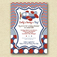 Chevron Polka Dot Airplane Baby Shower Invitation by MommiesInk Baby Shower Images, Cute Baby Shower Ideas, Baby Shower Crafts, Unique Baby Shower, Baby Shower Games Coed, Baby Shower Favors, Baby Shower Decorations, Baby Shower Cupcakes For Boy, Baby Boy Shower