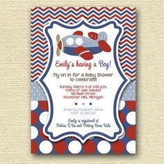 Chevron Polka Dot Airplane Baby Shower Invitation - PRINTABLE INVITATION DESIGN on Etsy, $12.50