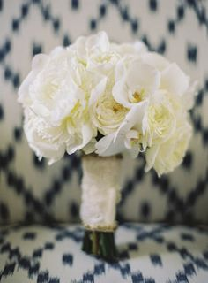 #white #bouquets #peonies | Photography by braedonphotography.com |  Event Planning by xoxobride.com |  Floral Design by moderndaydesign.com |   Read more - http://www.stylemepretty.com/2013/06/28/santa-barbara-wedding-from-xoxo-bride-braedon-flynn-photography/
