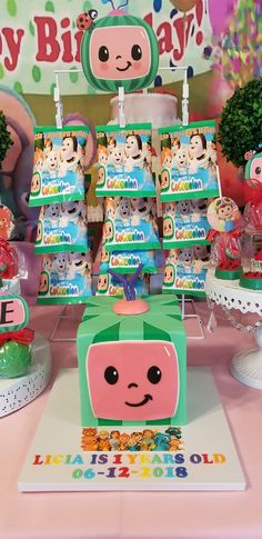 Cocomelon dessert table, candy table decorations, Cocomelon cake, Chip bags 1st Birthday Party Themes, 1st Birthday Decorations, First Birthday Invitations, Third Birthday, Candy Table Decorations, Dessert Table Decor, Chip Bags, Monster Party, Coco