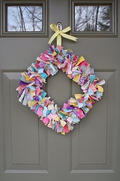Colorful Wreath ... Using ribbon or material scraps ~ practically free to make.