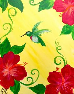 Hummingbird Paradise Easy Flower Painting, Easy Canvas Painting, Spring Painting, Fabric Painting, Painting & Drawing, Canvas Art, Hummingbird Painting, Wine And Canvas, Cool Paintings