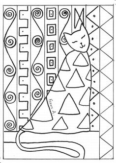In the style of Klimt, kids draw cat first, add patterns then paint in, use oil pastel resist with tempera cakes, gold and silver details added when dry with sharpies or metallic acrylics Gustav Klimt, Art Klimt, Drawing For Kids, Art For Kids, Documents D'art, Zentangle, Splat Le Chat, Coloring Books, Coloring Pages