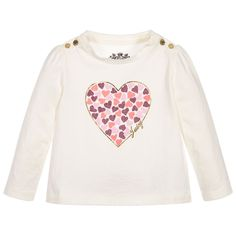 Juicy Couture Baby Girls Ivory Heart Print Top  at Childrensalon.com