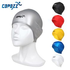 Sale 20% (6.99$) - COPOZZ Swimming Cap 3D Silicone Pure Color Hair Ears Protection Waterproof Comfortable Swim Hat