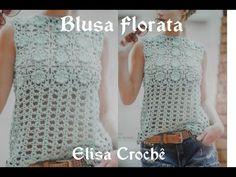 Versão destros:Blusa Ciganinha Aquamarine em crochê tam. P ( 2° parte) # Elisa Crochê - YouTube