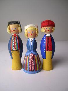 v i n t a g e Wooden Miniature Handpainted Swedish Girl Boy Doll--One Doll via Etsy.