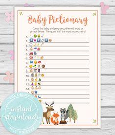 Baby Emoji Game Shower Ideas Woodland Theme Fox Creatures