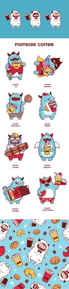 Monsters coffee on Behance ★ Find more at http://www.pinterest.com/competing/