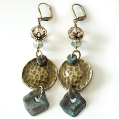 1a30563497be Long Dangle Earrings Hammered Antique by PacificJewelryDesign Diseño De  Joyas Hechas A Mano