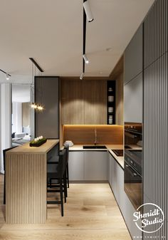 How to design your kitchen design in a thematic area – lamp ideas Loft Kitchen, Kitchen Room Design, Kitchen Cabinet Design, Modern Kitchen Design, Home Decor Kitchen, Interior Design Kitchen, Home Kitchens, Studio Apartment Kitchen, Modern Kitchen Furniture