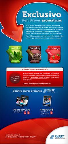 E-mail marketing de pendrives aromáticos da marca Smart.