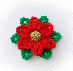 CROCHET-BROOCH-APPLIQUE-GLITTER-FLOWER-CHRISTMAS-FLOWER-POINSETTIA