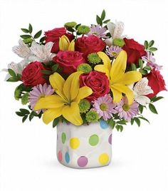 Order Teleflora's Delightful Dots Bouquet Delightful Dots from Villere's Florist, your local Metairie florist. Send Teleflora's Delightful Dots Bouquet Delightful Dots for fresh and fast flower delivery throughout Metairie, LA area. Fast Flowers, List Of Flowers, Summer Flowers, Mothers Day Flower Delivery, Mothers Day Flowers, Floral Centerpieces, Floral Arrangements, Spring Flower Bouquet, Online Florist