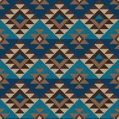 Illustration of Traditional Tribal Aztec Pattern. Seamless Knitting Ornament vector art, clipart and stock vectors. Weaving Patterns, Knitting Patterns, Crochet Patterns, Diy Crochet, Bead Crochet Rope, Cross Stitch Geometric, Cross Stitch Pillow, Native American Beadwork, Tapestry Crochet