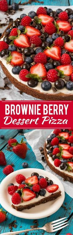 This brownie berry dessert pizza is the perfect sweet treat for any celebration! Ad