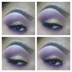 Divine Nine Omega Psi Phi gold glitter purple cut crease Smokey eye makeup