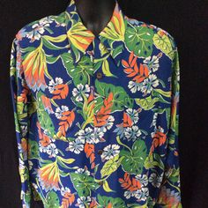 Vintage 1940s 1950s Rayon Hawaiian Long Sleeve Campus Rockabilly Shirt Medium