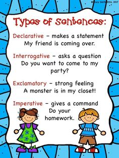Type of Sentences - anchor charts, printables, games, and engaging FUN!  Grades 1-3