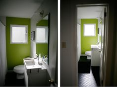 black white and lime green bathroom