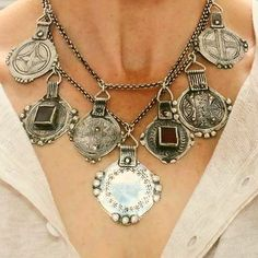 ITS HERE! Enjoy champagne and treats from @bethbiundo while trying on pieces like this antique medallion necklace!!