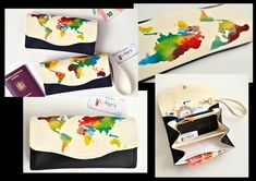 World map women's wallet, handmade, hand-printed, made with faux black leather and cotton canvas Handmade Bags, Etsy Handmade, Clutch Wallet, Cotton Canvas, Sunglasses Case, My Etsy Shop, Hand Painted, Map, Travel Destinations