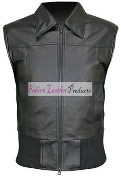 MEN'S BOMBER BLACK LEATHER VEST