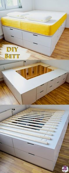 DIY IKEA HACk - build platform bed yourself from Ikea dresser .- DIY IKEA HACk – Plattform-Bett selber bauen aus Ikea Kommoden /werbung DIY Ikea Hack – Stable, very high bed with lots of storage space to build yourself with instructions - Ikea Hack Lit, Ikea Hack Bedroom, Bedroom Storage Hacks, Ikea Storage Bed Hack, Underbed Storage Ideas, Ikea Loft Bed Hack, Wardrobe Storage, Craft Storage, Storage Bins
