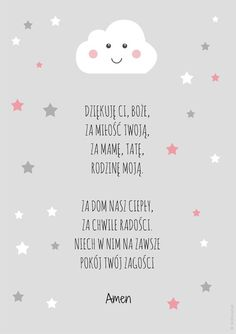Plakat z modlitwą - Dziękuję Ci Boże (róż) Mather Day, Polish Language, Room Tour, Baby Kind, Memory Books, Better Life, Kids And Parenting, Motto, Picture Quotes