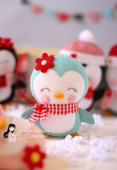 erica catarina felt penguin - stuffed toy pattern sewing handmade craft idea template inspiration felt fabric DIY project children Christmas DIY ornament