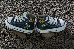 Hand Painted Converse Kids. Fighting Irish. Notre Dame Football. Leprechaun. on Etsy, $94.65
