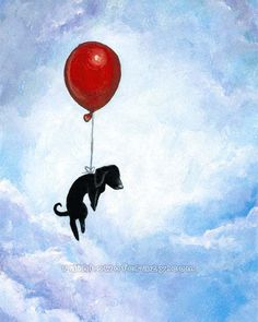 Black Dachshund Art Print, Red Balloon, 8x10 Nursery Room Artwork, Flying Dog Illustration