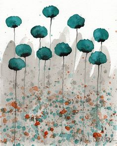 Mister Muscle -- Teal Flowers -- Giclee Print 8x10