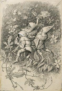 Il·lustració per al poema «Liliana Ink Illustrations, Fantasy Creatures, Golden Age, Gnomes, Elves, Line Art, Ephemera, Fantasy Art, Fairy Tales