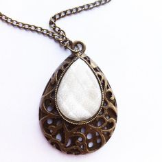 White Shimmer Drop Necklace £3.50